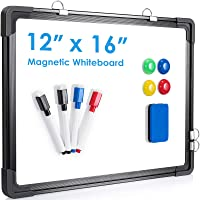 """Small Dry Erase White Board, ARCOBIS 12"""" x 16"""" Magnetic Hanging Double-Sided Whiteboard for Wall, Portable Mini Easel…"""