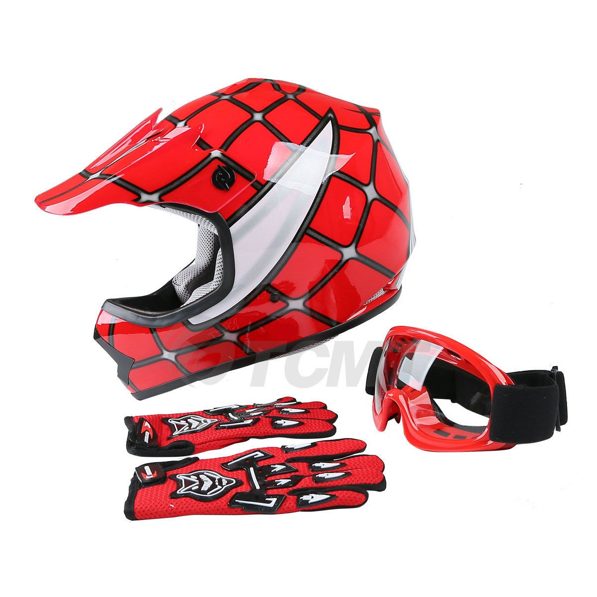 TCMT Dot Youth & Kids Motocross Offroad Street Helmet Red Spider Motorcycle Helmet White Dirt Bike Dirt Bike Helmet+Goggles+gloves (XL, Red) XF270214-XL