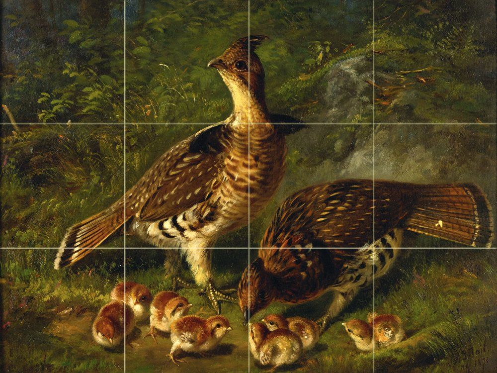 PAIR RUFFED GROUSE AND YOUNG by Arthur Fitzwilliam Tait Tile Mural Kitchen Bathroom Wall Backsplash Behind Stove Range Sink Splashback 4x3 8'' Ceramic, Matte by FlekmanArt