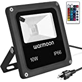 Warmoon Outdoor LED Flood Lights 10W RGB Color Changing Waterproof Security Wall Washer Light with US 3-Plug & Remote Control for Garden Home Yard Hotel Pathways