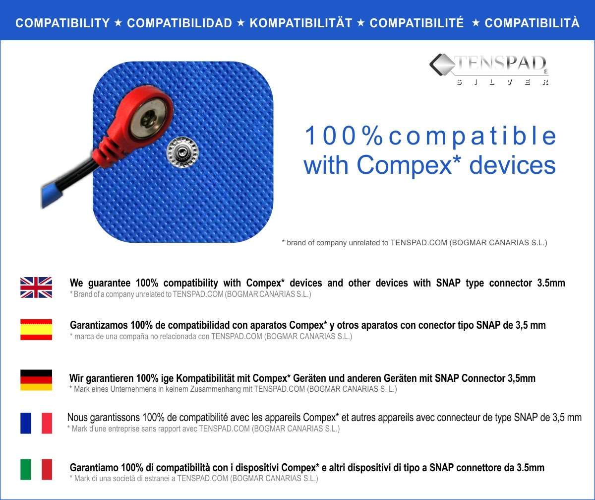 50 x 50 mm Compatible with Compex Silver Pattern on the Conductive Surface TENSPAD SILVER 8 Electrodes with Snap Fastener