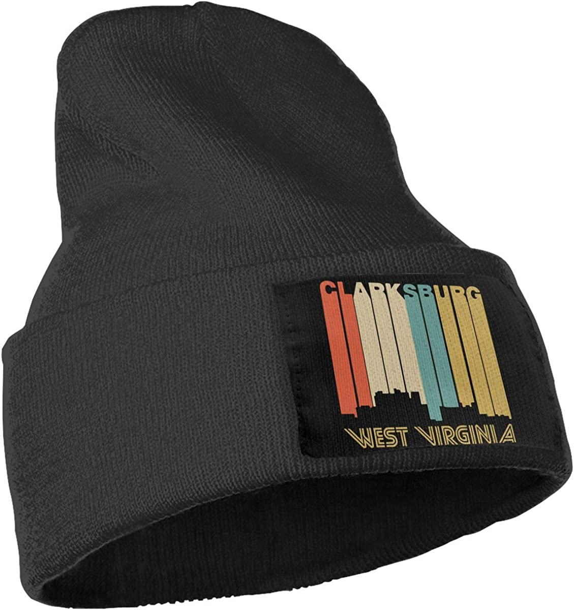 Retro 1970s Style Clarksburg West Virginia Skyline Skull Cap Men /& Women Knit Hats Stretchy /& Soft Beanie