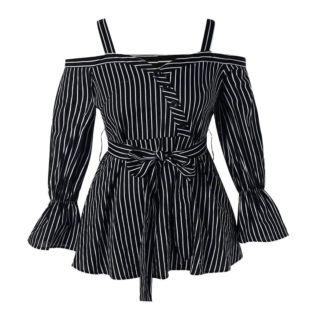 Willow S Women Fashion Sexy Casual Plus Size Slash Neck Long Sleeve Stripe Loose T-Shirt Tops Blouse Black