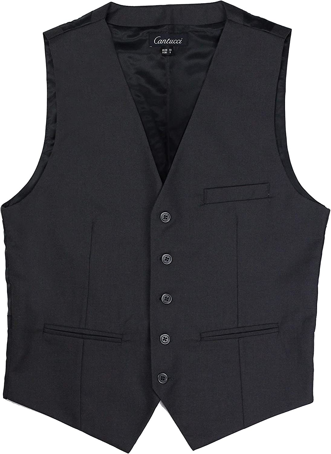 PUCCINI Bows-N-Ties Mens Suit Vest Single Breasted Dress Vest for Men Vests with 3 Functional Pockets