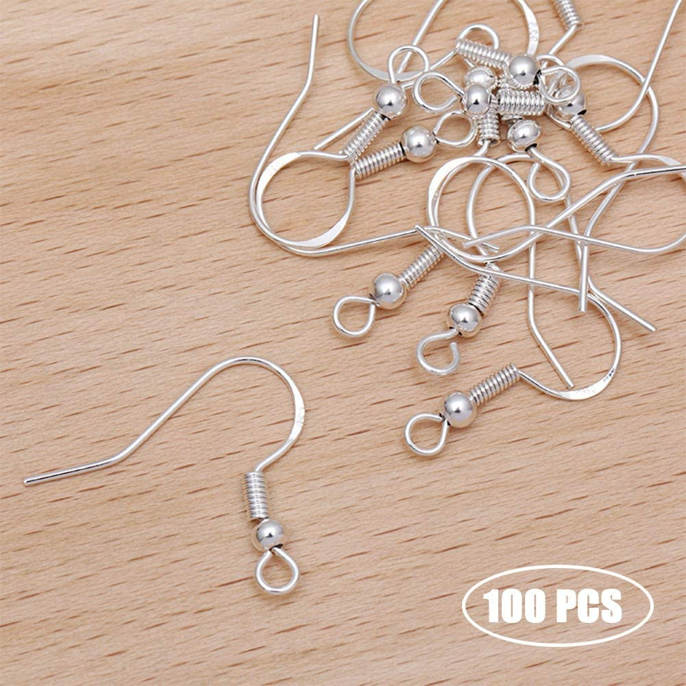 Silver - 50 Pairs 100PCS//50 Pairs 925 Silver Hypoallergenic Earring Hooks with 200 PCS Soft Clear Bullet Earring Backs Jewelry Earring Findings for DIY Jewelry Making