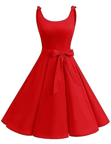 Bbonlinedress 1950's Bowknot Vintage Retro Polka Dot Rockabilly Swing Dress DarkRed XL