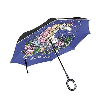 ALAZA Doble Capa invertido Paraguas Coches inversa Paraguas Unicornio y Prueba a Prueba de Viento Flores