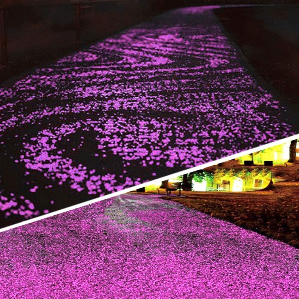 Not application Glow in The Dark Garden Pebbles Stones,Garden Lawn Yard, Aquarium, Walkway, Fish Tank, Pathway, Dwered by Light or Solar-Recharge Repeatedlyriveway, Luminous Pebbles (Purple)