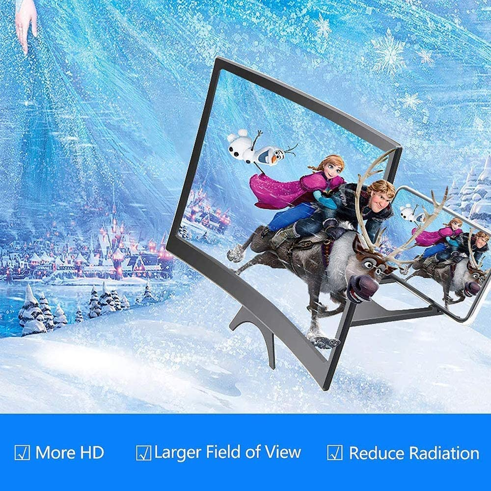 3D HD Screen Magnifier Amplifier Projector Mobile Phone Enlarger for Foldable Holder Stand for All Smartphone,Black ZQCZ 12 Curve Screen Magnifier for Cell Phone