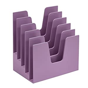 Acrimet Incline Desk File Sorter Step 5 Sections Heavy Duty (Solid Purple Color)