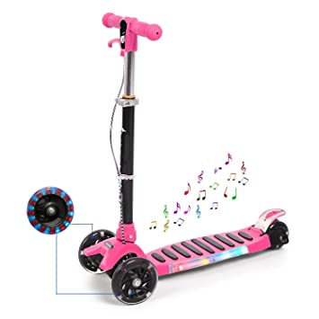 BUSYALL Mini Scooter Patinetes para Niños Niñas 3-14 Años con 3 Ruedas de Led