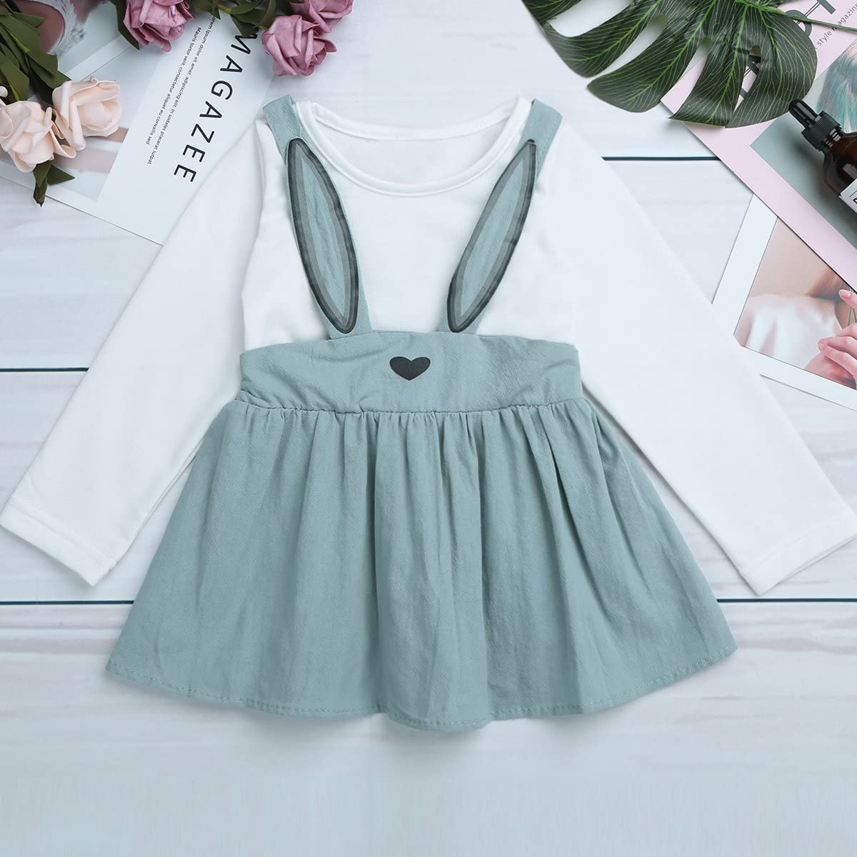 ACSUSS Infant Baby Girls Cotton Long Sleeves Suspenders Skirts Rabbit Ear Tunic Dress Spring Autumn Casual Daily Wear