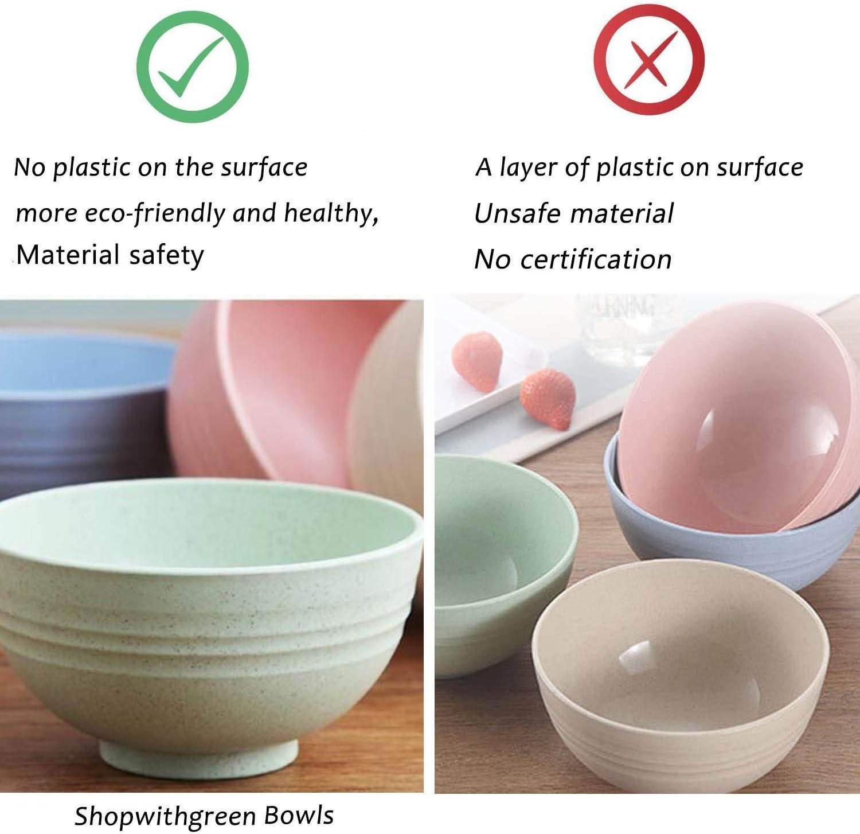 for Children Adult Support BPA Free KONUNUS 4 Color Wheat Straw Bowl Unbreakable Cereal Bowls Lightweight Bowl Sets Kitchen Salad Fruit Bowl Dishwasher /& Microwave Safe