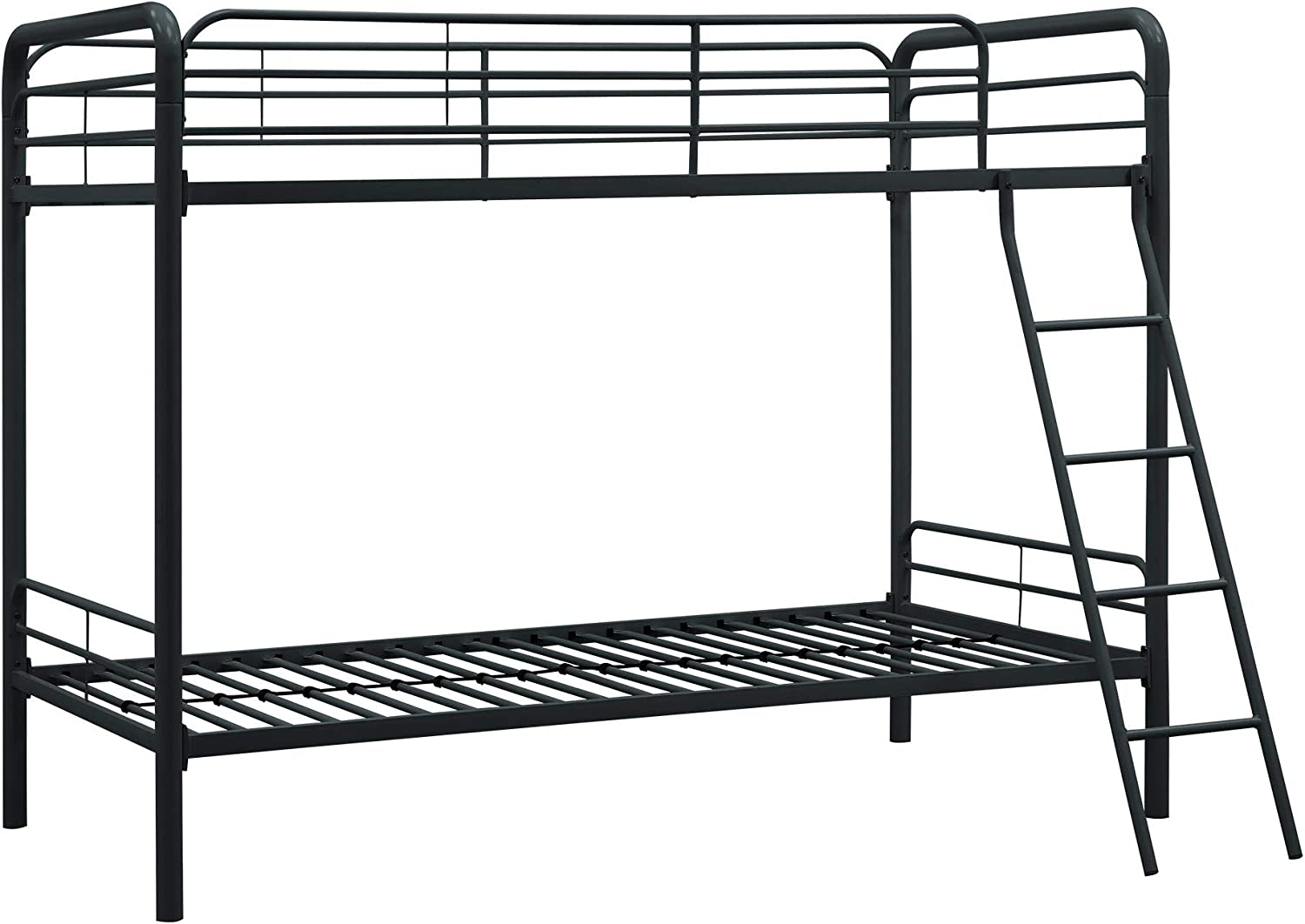 Amazon Com Dhp Twin Over Twin Bunk Bed With Metal Frame And Ladder Space Saving Design Black Furniture Decor