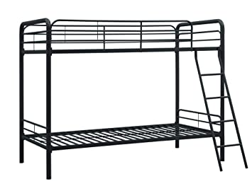 best service c8011 18371 DHP Twin-Over-Twin Bunk Bed with Metal Frame and Ladder, Space-Saving  Design, Black