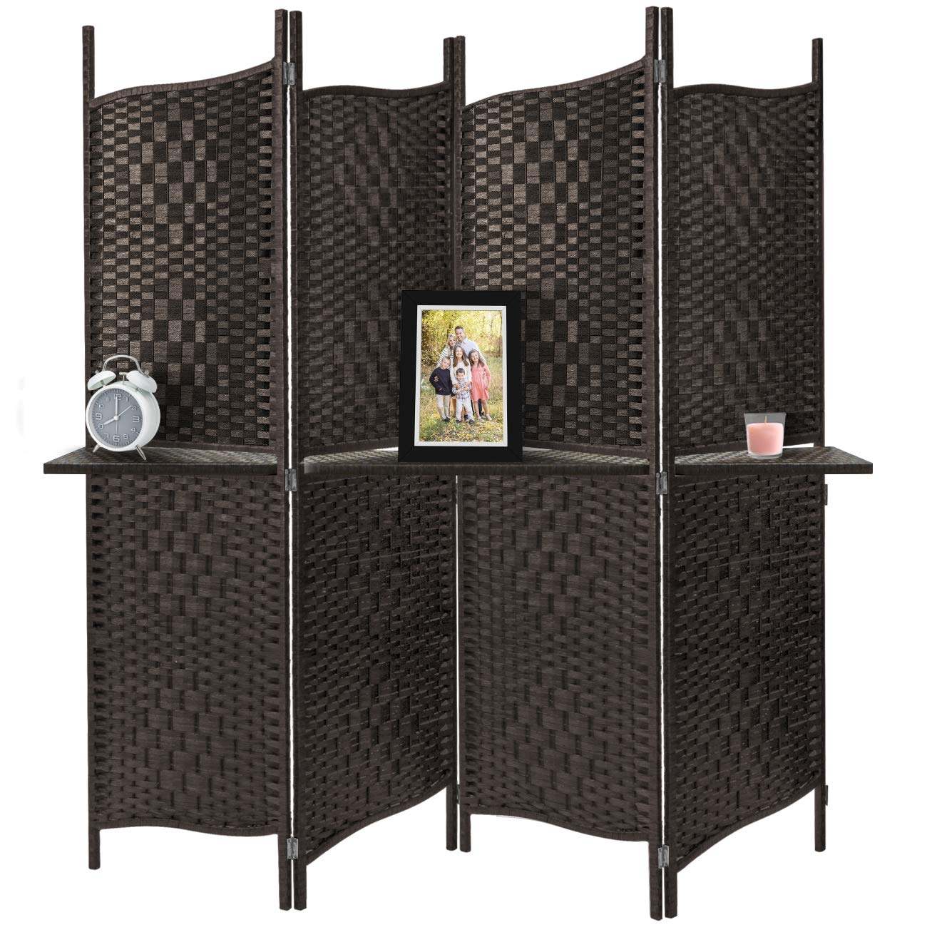 Sorbus Room Divider Privacy Screen, Foldable Panel Partition Wall Divider, Room Dividers and Folding Privacy Screens, Diamond Double-Weaved (Espresso Brown (Curve Shelf)) by Sorbus