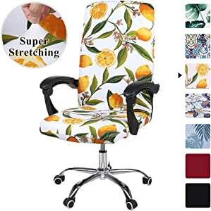 smiry Stretch Printed Computer Office Chair Covers, Soft Fit Universal Desk Rotating Chair Slipcovers, Removable Washable Anti-Dust Spandex Chair Protector Cover with Zipper (Yellow Lemon)