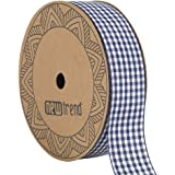 NewTrend Gingham Ribbon 25 Yard Each Roll 100% Polyester Woven Edge (1-Inch, Bule)
