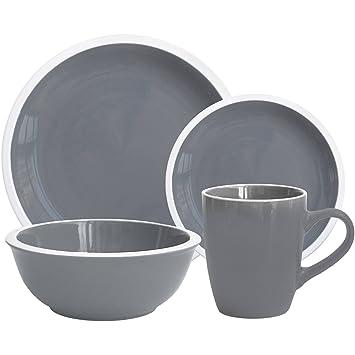 Mainstays Hadleigh 16-Piece Dinnerware Set Grey Flannel  sc 1 st  Amazon.com & Amazon.com | Mainstays Hadleigh 16-Piece Dinnerware Set Grey ...