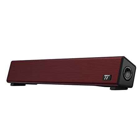 TaoTronics Bluetooth 4.2 Computer Speaker, Wired Wireless Computer Sound Bar, Mini Soundbar Speaker Red