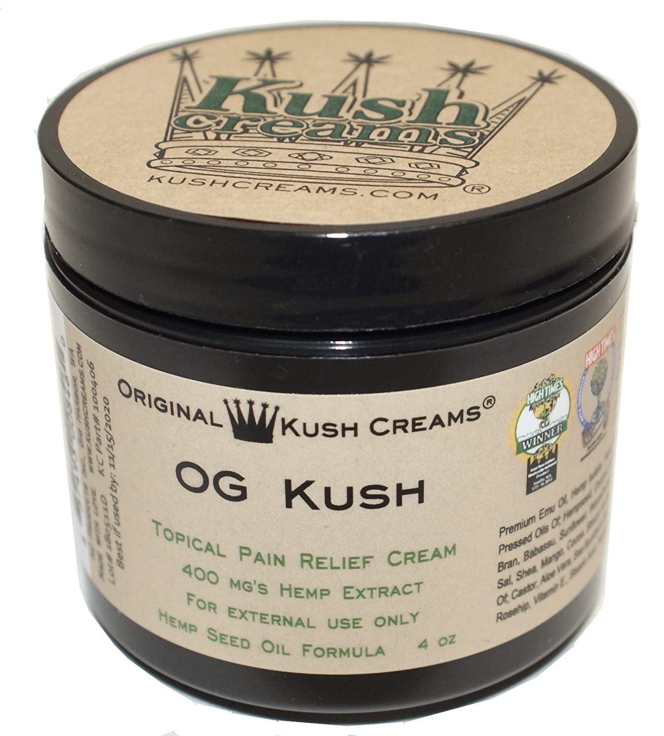 Amazon.com: Kush Creams - OG Kush - Emu Oil & Hemp Oil Infused w/ 30+ Herbal Ingredients - Topical Pain Relief Cream with Aromatherapy - Award Winning ...