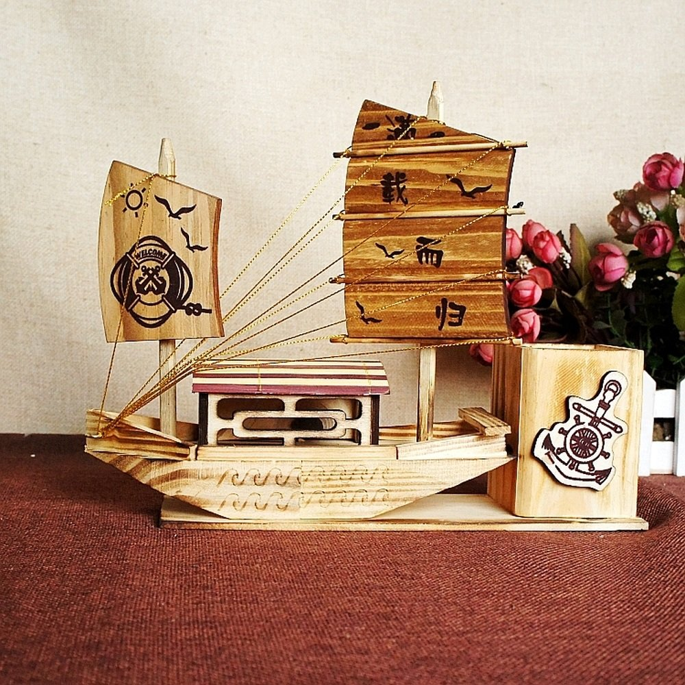BWLZSP Wooden pen creative fashion office supplies multifunctional student cute stationery solid wood desktop storage box WL5291630 (Color : B)