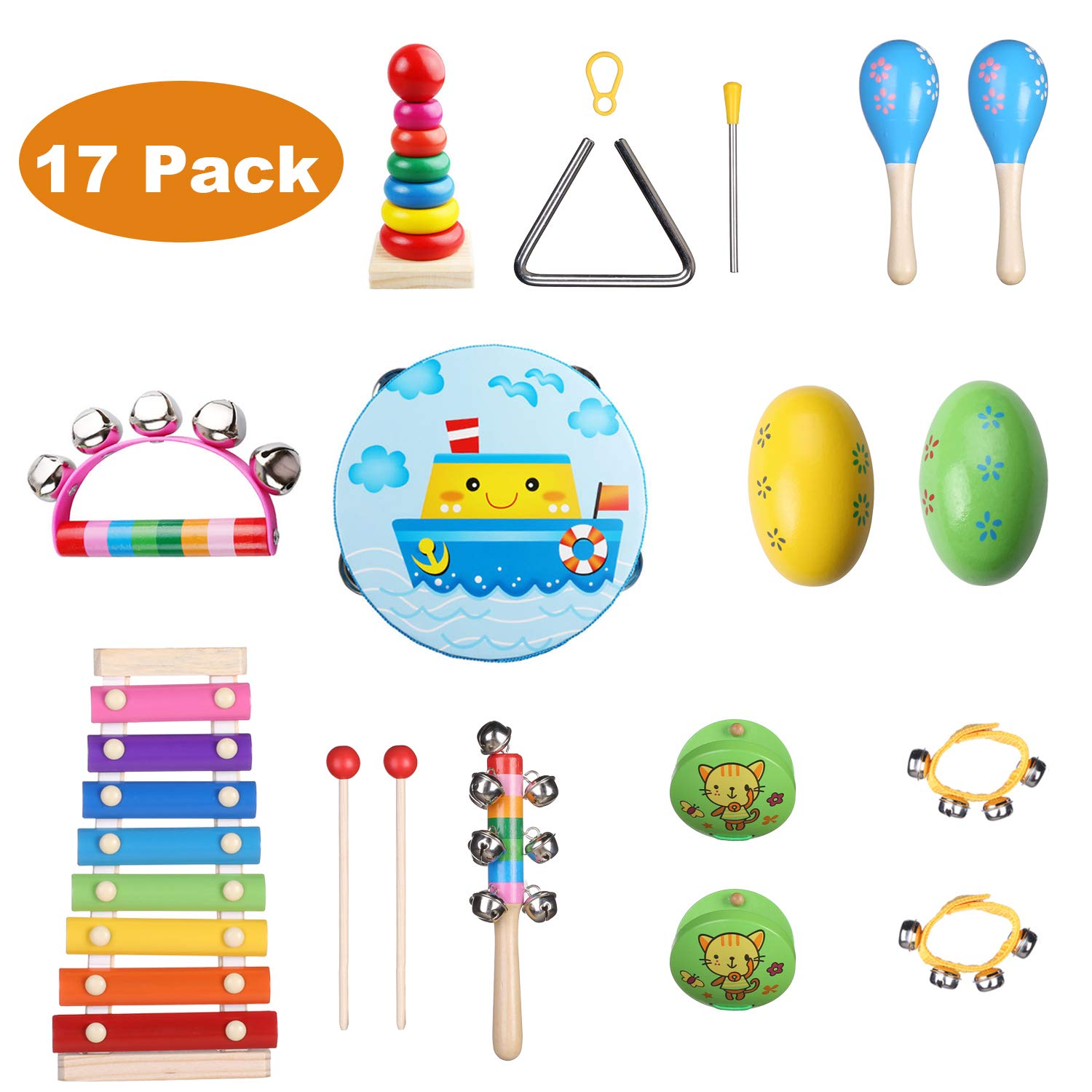 Childom Kids Musical Instruments 17PCS Wood Percussion Xylophone Toys for Boys and Girls,Child Wooden Music Shakers Percussion Instruments Tambourine Birthday Gifts Present