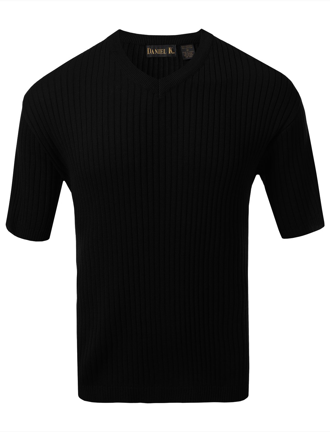 7 Encounter Men's V Neck Short Sleeve Large Ribbed Sweater Black M