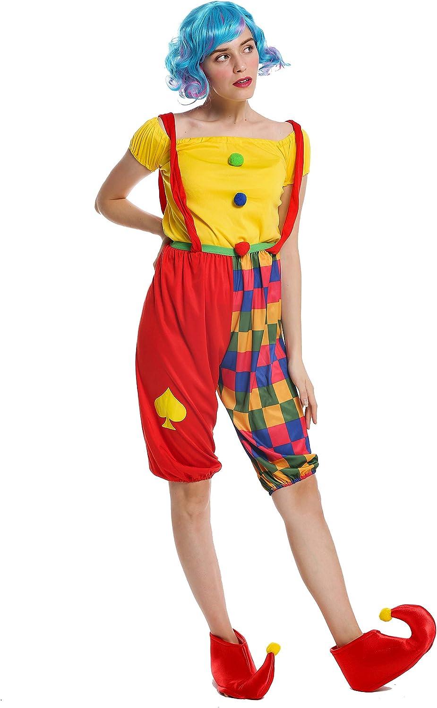 dressmeup - W-0232-S/M Disfraz Mujer Feminino andrógino Payaso Clown arlequín bufón Talla S/M