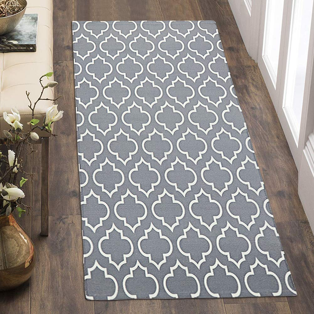 OJIA Moroccan Area Rug with Non Slip Pad,Woven Throw Rugs Door Mat,Indoor Runner for Bathroom,Bedroom,Living Room,Laundry Room (2 x 4ft, Gray)