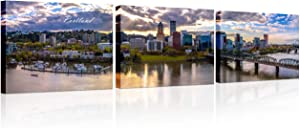 3 Pieces Wall Art Portland Oregon Skyline Prints On Canvas Downtown Cityscape Panorama Wall Painting Home Modern Decoration Print Decor for Living Room with Framed Ready to Hang 14x20 inch x3