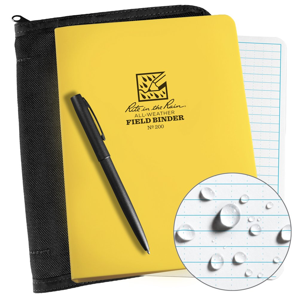 Rite in the Rain Weatherproof Binder Kit: Black Cordura Cover, Yellow Binder, 50 Sheets White Universal Loose Leaf, and Weatherproof Pen (No. 200B-KIT) by Rite In The Rain