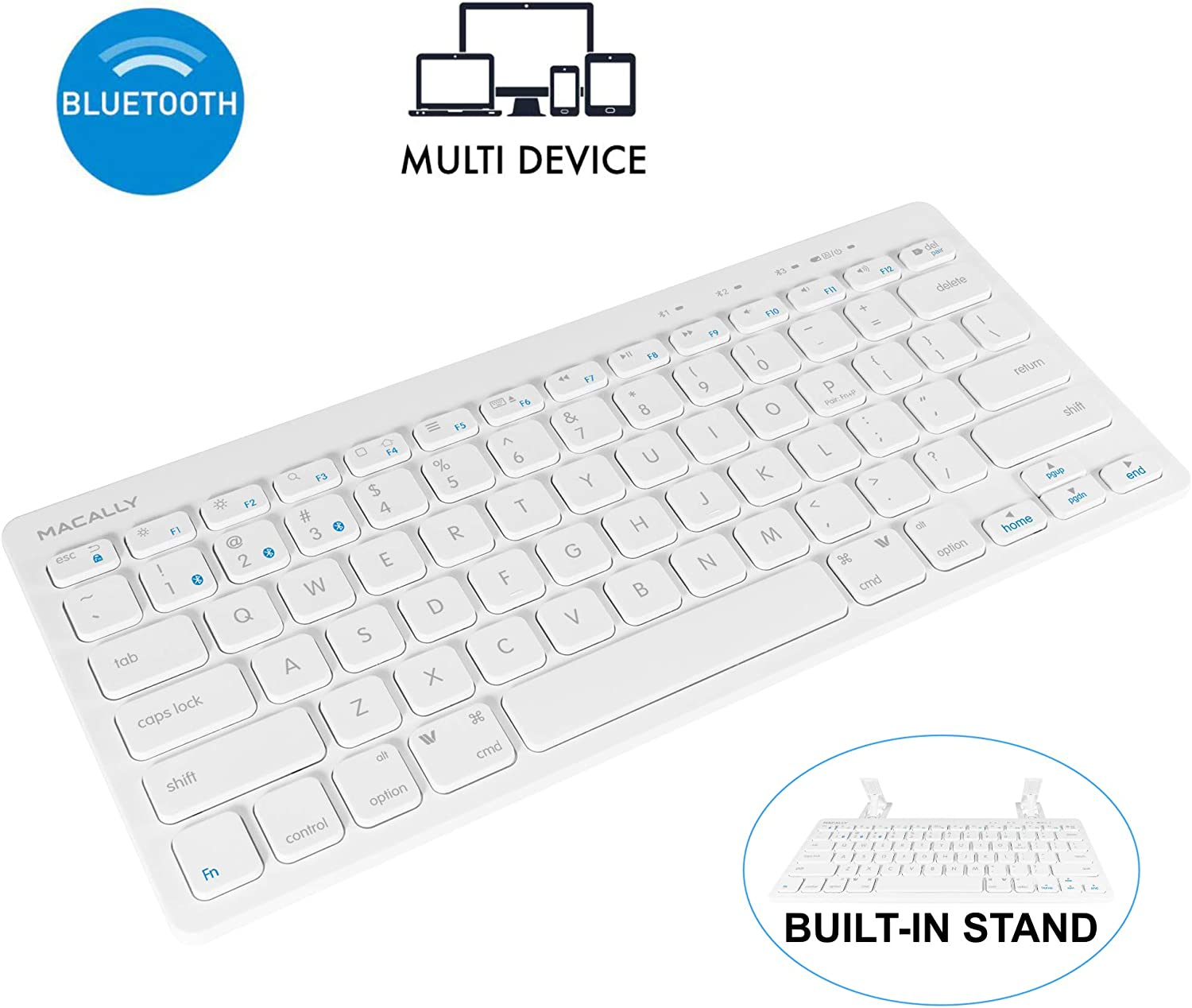 Macally Compact Bluetooth Keyboard for Mac, iPad, iPhone, PC, & Android - Built in Tablet/Phone Stand & Multi Device Sync - Ultra Portable Mac Wireless Keyboard - Perfect for Travel or at Home