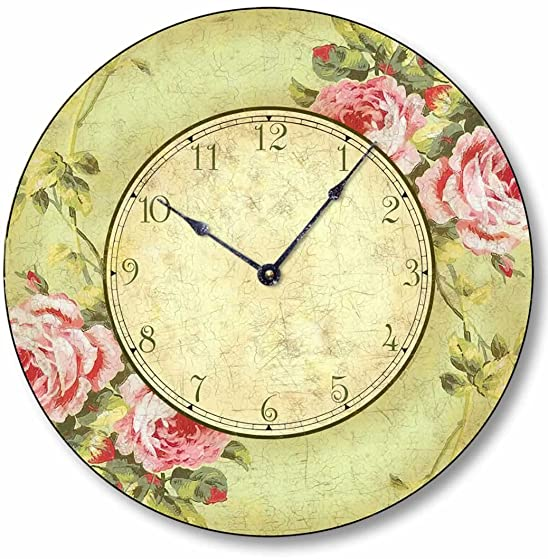 Fairy Freckles Studios Item C2012 Vintage Shabby Chic Style 10.5 Inch Pink Rose Clock
