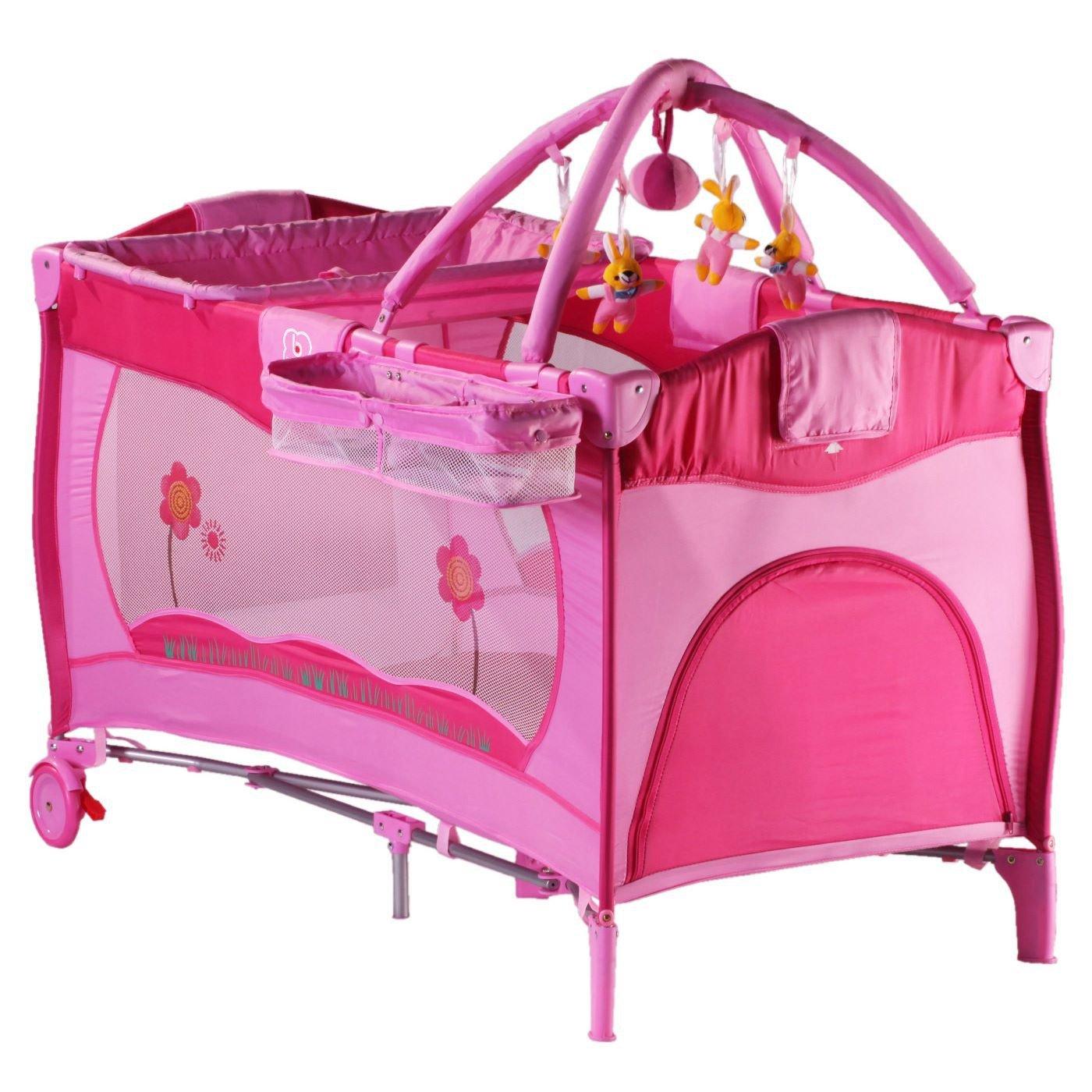 Lettino da viaggio rosa babygo