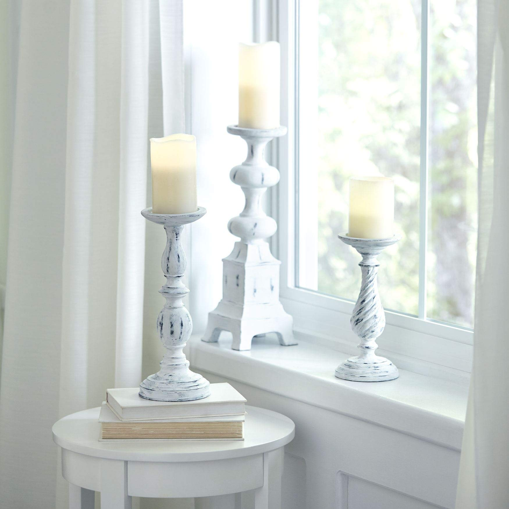 BrylaneHome White Washed Candlesticks, Set of 3 - White Washed