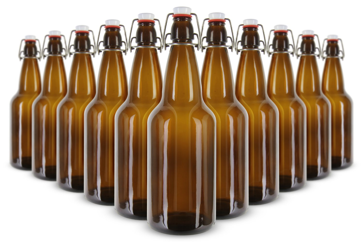 Kegco 1 Liter Flip-Top Home Brew Beer Bottles - Amber (Case of 12) FP-1000ASTB