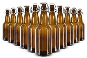 EZ Cap bottles - FP-1000ASTB 1 L (33 oz.) Amber Flip Top Bottles (Pack of 12)