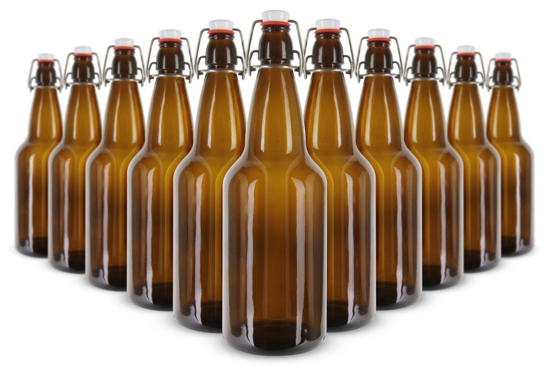EZ Cap bottles  1 L (33 oz.) Amber Flip Top Bottles (Pack of 12)