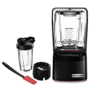 Blendtec GO Cup (34 oz) 800 Blender-WildSide+ Jar (90 oz) Spoonula Spatula BUNDLE - Industries Strongest and Quietest Professional-Grade Power 11-Speed Touch Slider Black