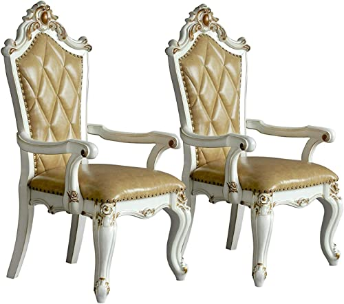 Extrordinary Living Wood and Leather Dining Side Armchairs Royal Style Classic Traditional Luxury High End Main Executive Chair Chairs