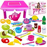 Toddler Folding Storage Table with Toy Dishes, Play Tea Set & Toy Food | 4-Set Plates, Cups & Utensils | Cutting Play…