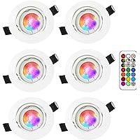 RGB led-plafondspot, inbouwlamp 3W, RGB lampen, inbouwspot, dimbaar, met afstandsbediening