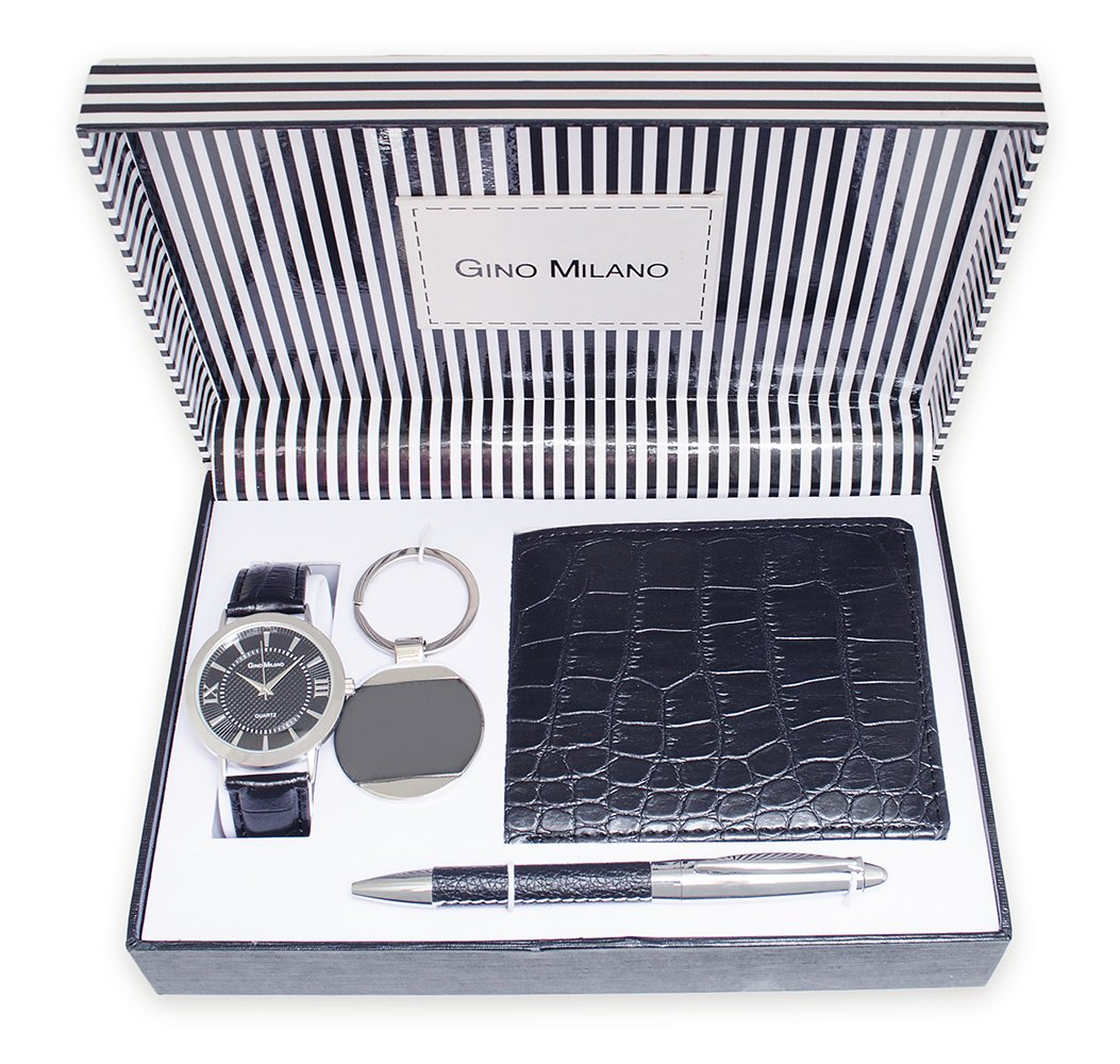 Men's Gift box 4pcs by Gino Milano – Analog Quartz Watch with Black Leather Band, Trendy Leather Keychain, Light Weight Bi-fold wallet, and a pen (Black). All Water-resistant collectibles.
