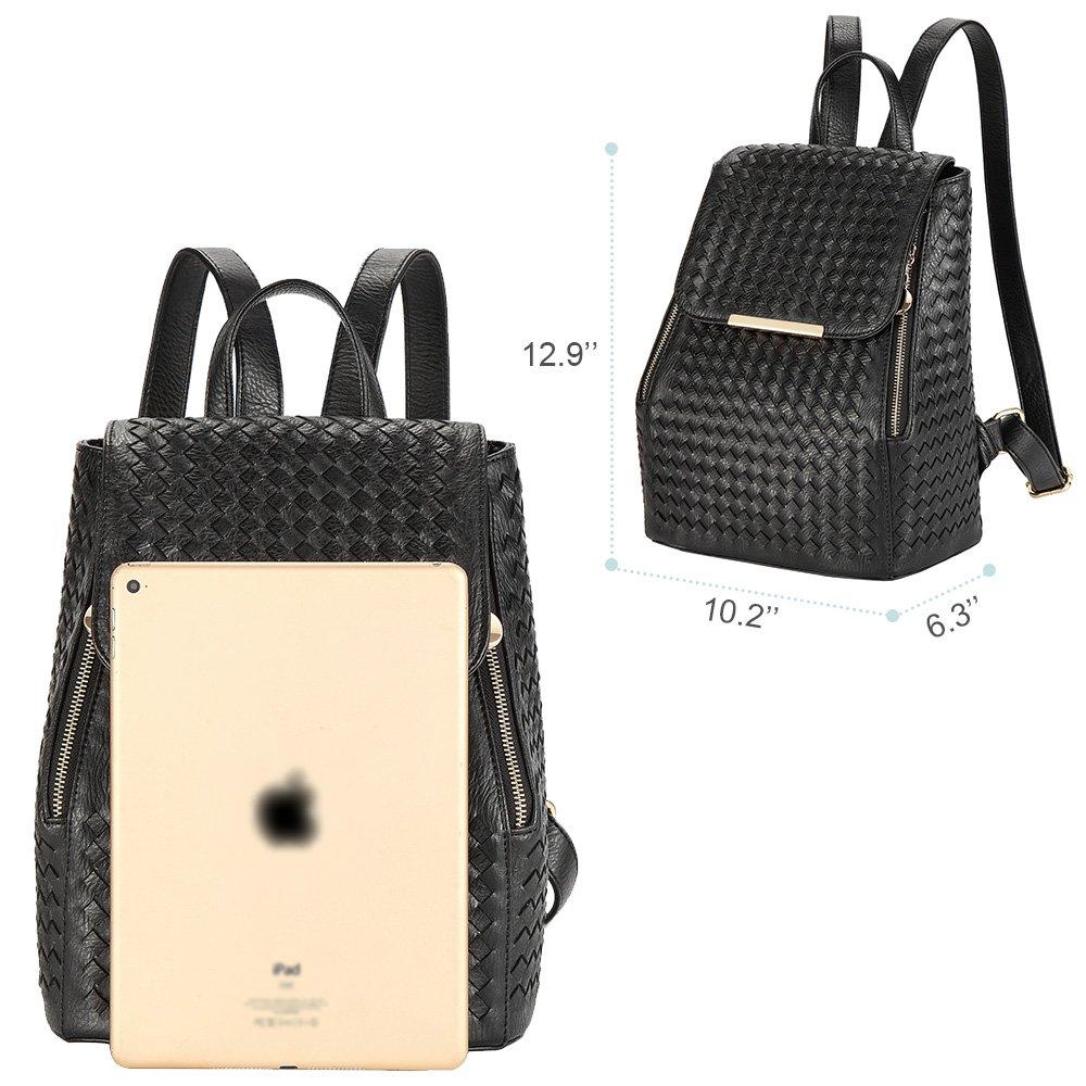 0dff54ad82f1 RUVALINO Mode sac à dos sac à dos avec tissage à la main en cuir PU ...