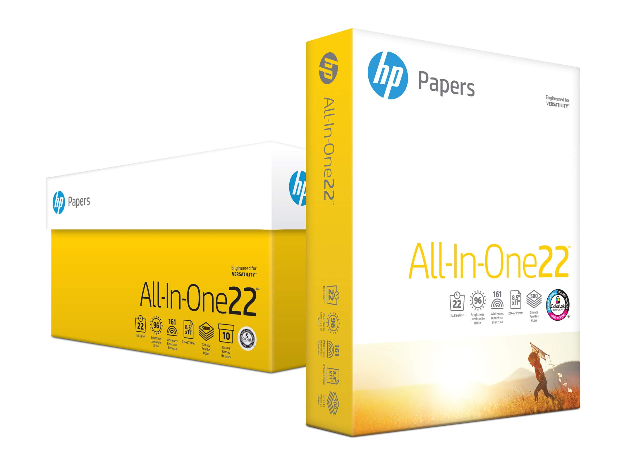 HP Printer Paper, All In One22, 8.5 x 11 Paper, Letter Size, 22lb Paper, 96 Bright, 5, 000 Sheets/ 10 Ream Carton (207010C) Acid Free Paper by HP Paper