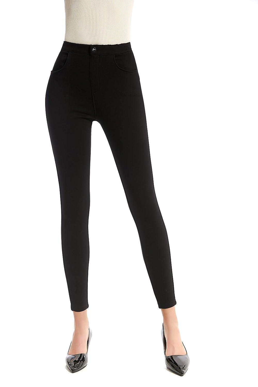 GEQIMEI Womens Skinny Pants Pull-On Slim Stretch Black ...