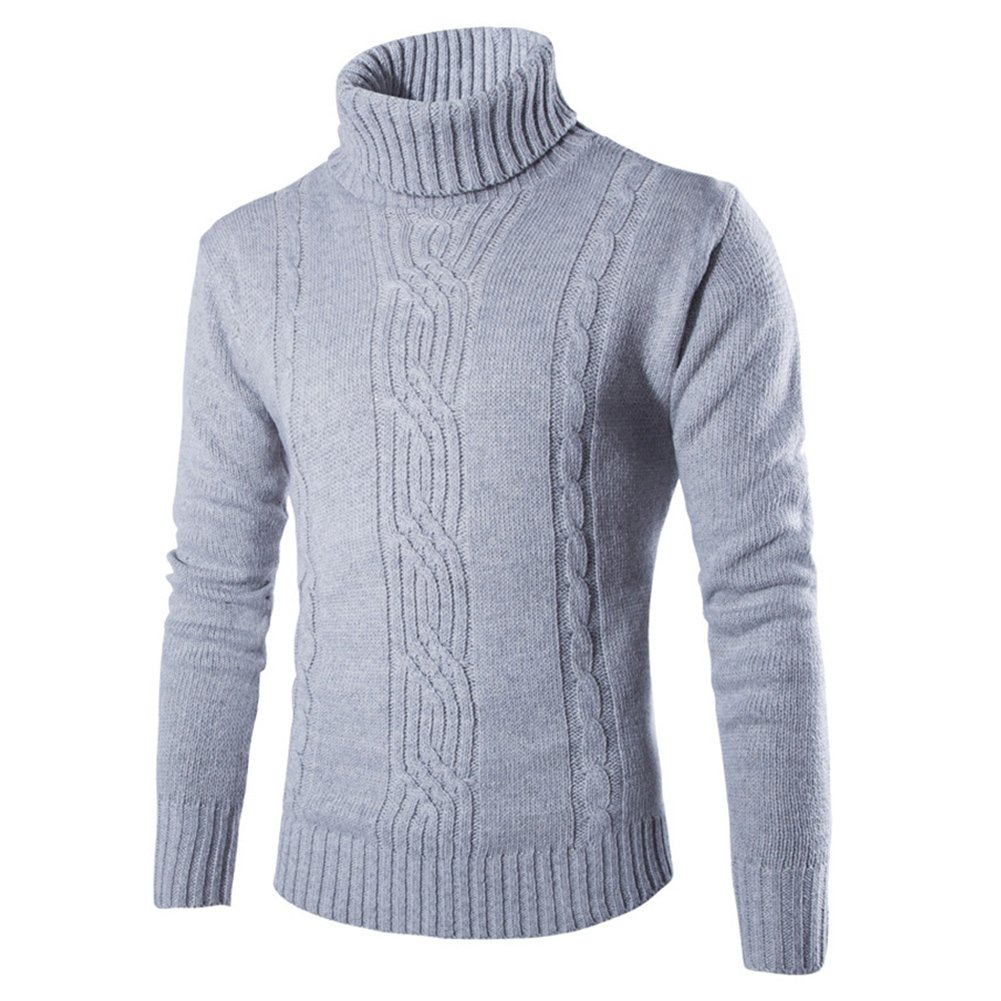 Hombres Multa De Punto Suéter Tipo con Cuello de Tortuga Casual Suéter Invierno Calentar Jersey Moda Jacquard Sweater Regular Fit Camisa Ligero Gris/Oscuro Gris T171221MP1-X