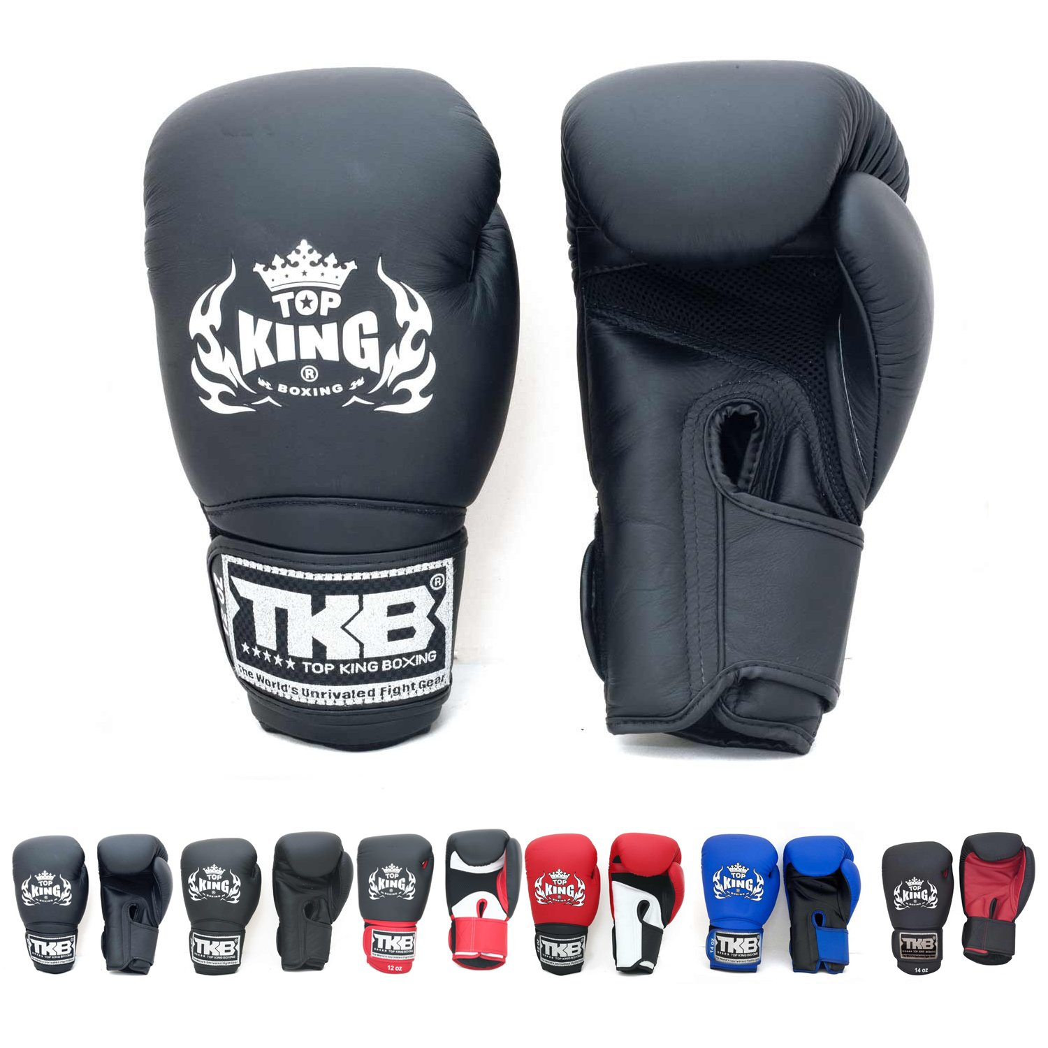 Top King Empower Muay Thai Boxing Gloves Black