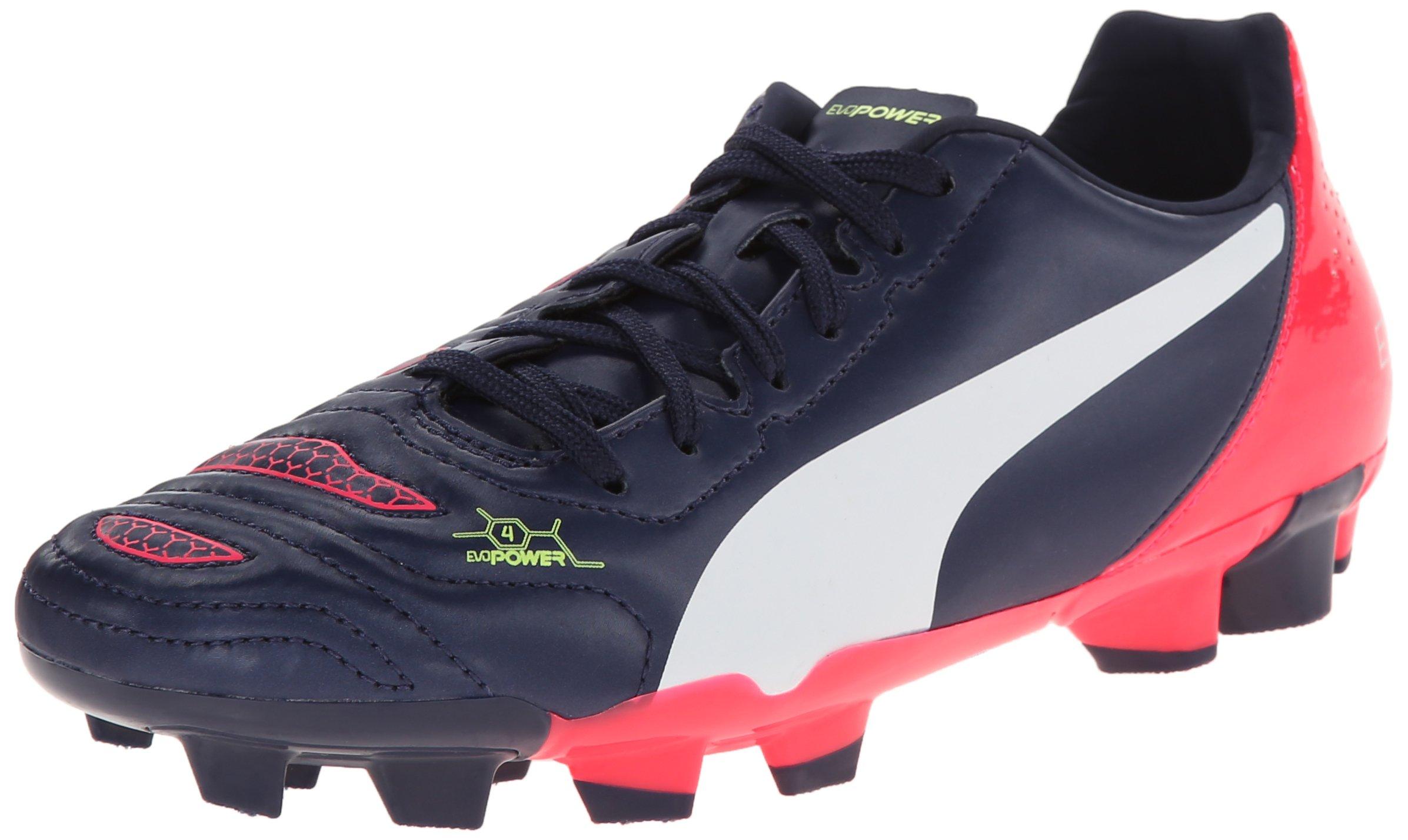 PUMA Evopower 4.2 Firm Ground JR Soccer Shoe (Little Kid/Big Kid), Peacoat/White/Bright Plasma, 4 M US Big Kid